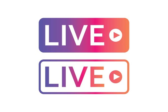 live broadcast icon . video broadcasting and live streaming icon. live Button symbols for social media instagram, vector illustration
