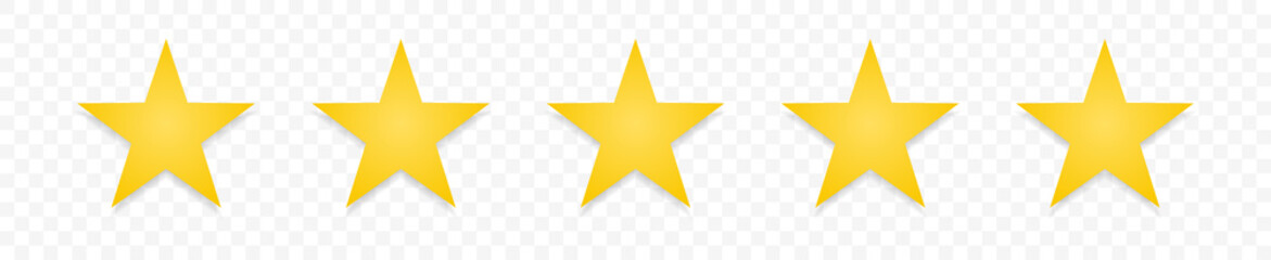5 gold stars quality rating icon. Five yellow star product quality rating. Golden star vector icons. Stars in modern simple with shadow. Vector illustration.