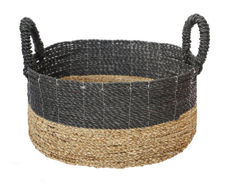 woven laundry basket isolated on white background . Details of modern boho bohemian scandinavian and minimal style eco design interior