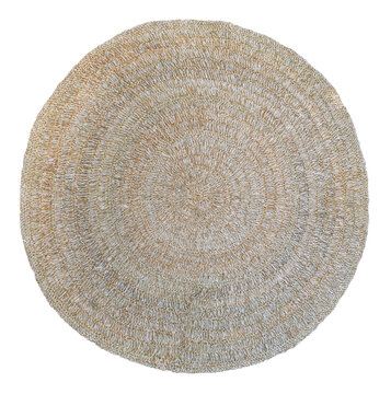 straw carpet round decor isolated on white background. Details of modern boho, bohemian, scandinavian and minimal style. eco design interior