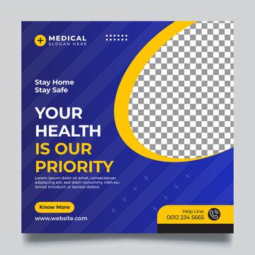 Medical health social media post web banner & Square Flyer Templates