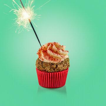 cannabis cupcake with sparkler