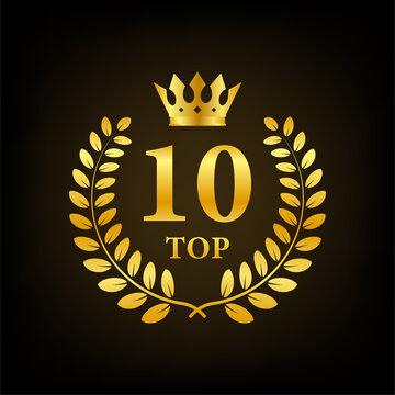 Top 10 label. Golden laurel wreath icon. Vector stock illustration.