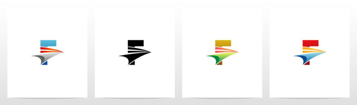 Swoosh Arrow On Letter Logo Design F