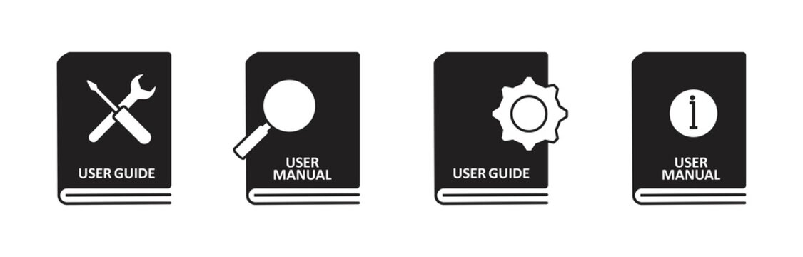 User guide book icon set in flat style. manual user book vector icon for web design isolated on white background