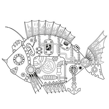 Steampunk vector coloring page. Vector coloring book for adult for relax and medetation. Art design of a fictional mechanical fish