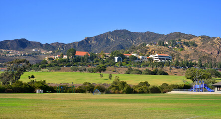 Panoramic view on Malibu california from Bluffs Park to the landscape with hills