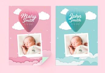 Boy and Girl Printable Birth Flyer Layouts