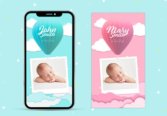 Boy and Girl Birth Announcement Social Media Layouts