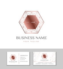 The logo and business card for Atelier, fashion designer or studio sewing and tailoring. Rose gold polygon with thread and needle