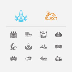 Country icons set. Connecticut and country icons with washington, maine and north carolina. Set of ocean for web app logo UI design.