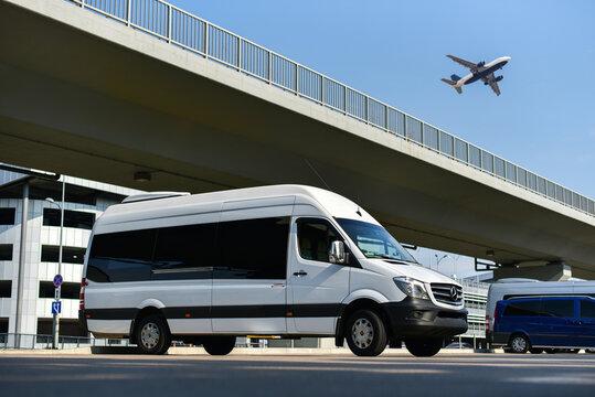 Boryspil / Ukraine - 05.14.19: Minibus of transfer service in airport