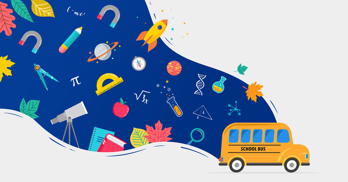 School bus, back to school concept illustration with icons of supplies and books. Vector background design