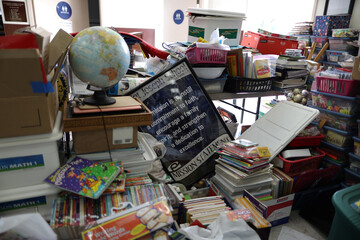 School supplies lie piled up during summer break renovations and installation of social distancing measures at St. Joseph's School, amid the outbreak of the coronavirus disease (COVID-19), in La Puente, near Los Angeles