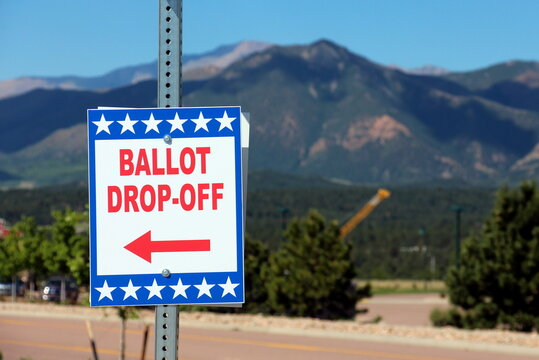 Colorado Springs, CO, USA - June 24, 2020: Ballot Box for Colorado State Primary Election - All Mail-In Voting - Pikes Peak in the Background