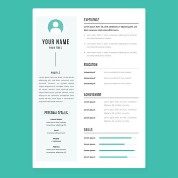 Professional CV resume template design and letterhead / cover letter - vector minimalist. Nice for a good job. Simple resume template with blue background. Simple vitae design layout for awesome job.