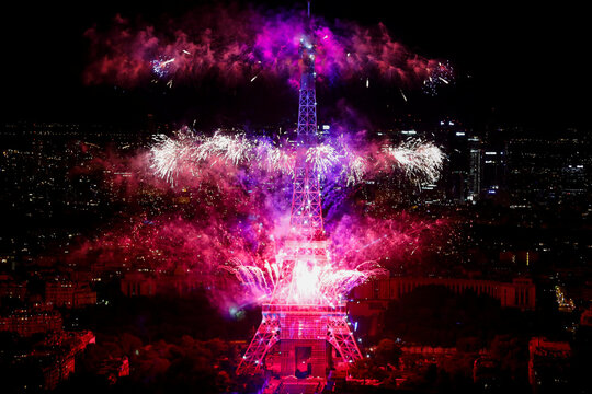 Fireworks at the Eiffel Tower to mark Bastille Day celebrations in Paris