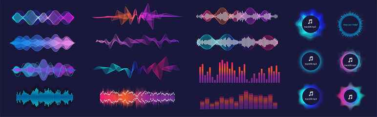 Photo sur Plexiglas Abstract wave Sound waves equalizer collection in futuristic colors. Frequency audio waveform, music wave, circle bar, voice graph signal in HUD style. Set Audio waves. Microphone voice and sound recognition.