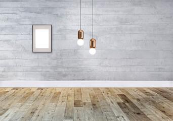 grey bright empty interior design, stone wall. 3D illustration
