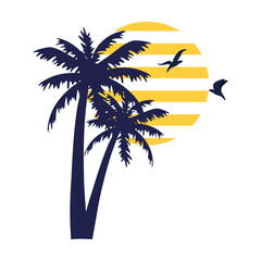Wall Mural - tropical palm silhouette with birds flying on white background vector illustration design