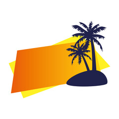 Wall Mural - tropical palm silhouette on white background vector illustration design
