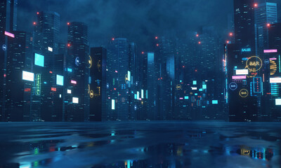 3D Rendering of billboards and advertisement signs at modern buildings in capital city with light reflection from puddles on street. Concept for night life, never sleep business district center (CBD) Wall mural
