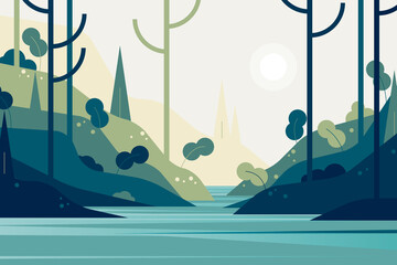Keuken foto achterwand Groen blauw Countryside landscape, forest mountain in the lake in green tone