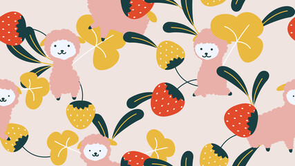 Animal seamless pattern, cute lamas with strawberries and leaves