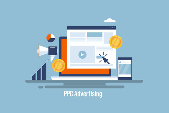PPC advertising, pay per click marketing campaign, business investing on paid digital advertising. Courser clicking on website advertising banner. Smart marketing and brand promotion technology .