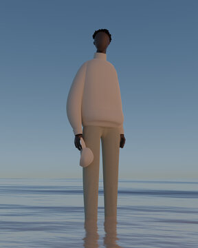 Illustration of young man standing in sea