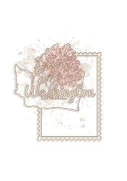 washington map with flower