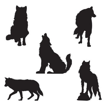 set of wolf silhouettes