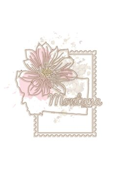 montana map with flower