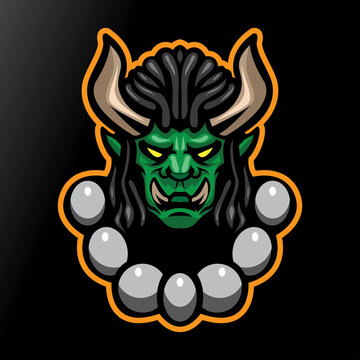 MONSTER HORN WITH BIG TEETH MASCOT LOGO