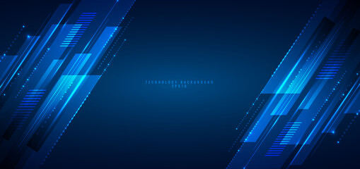 Abstract banner web design template blue geometric lines overlapping layer movement on dark background