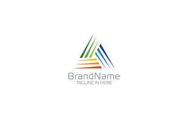Triangle logo formed with abstract shape in minimalist and modern