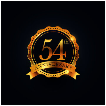 54th anniversary celebration badge label in golden color