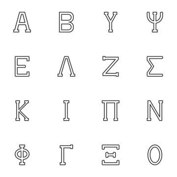 Greek alphabet line icons set, outline vector symbol collection, linear style pictogram pack. Signs, logo illustration. Set includes icons as letters Alpha, Beta, Gamma, Delta, Epsilon, Zeta, Omega