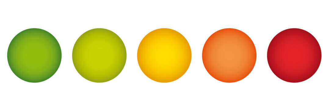 Rating feedback sample buttons in traffic light colors