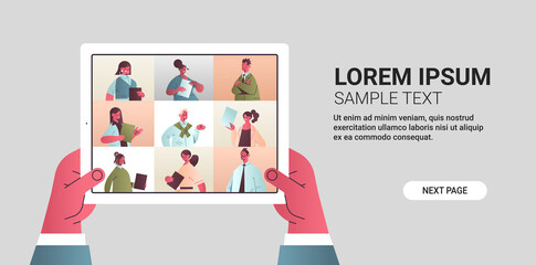 human hands holding tablet chatting with mix race friends during video call people having virtual live conference communication concept horizontal copy space vector illustration