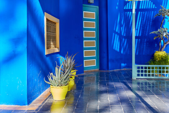Marrakech / Morocco- 03/02/2016 : Jardin Majorelle Garden in Marrakech was founded in 1923, Yves Saint-Laurent lived here from the 1980s. Is one of the most visited places in Morocco.