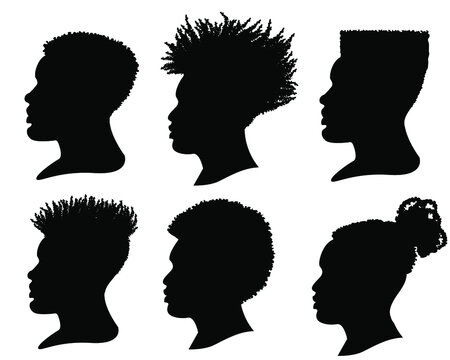 Silhouette African American men. Vector profile portrait set of Hairstyle heads isolated on white