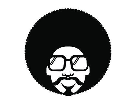 Retro Disco dance poster 70s. Vector bright color portrait man with retro sunglasses