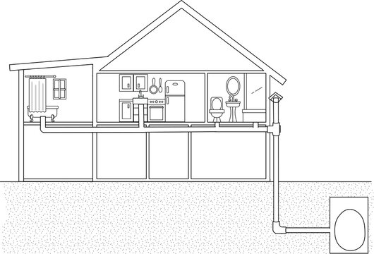 Skeletal image of a house sideways view showing a toilet drainage pipe of the toilet pipe connected all the way to the soil pipe outside the house top to the bottom of the house