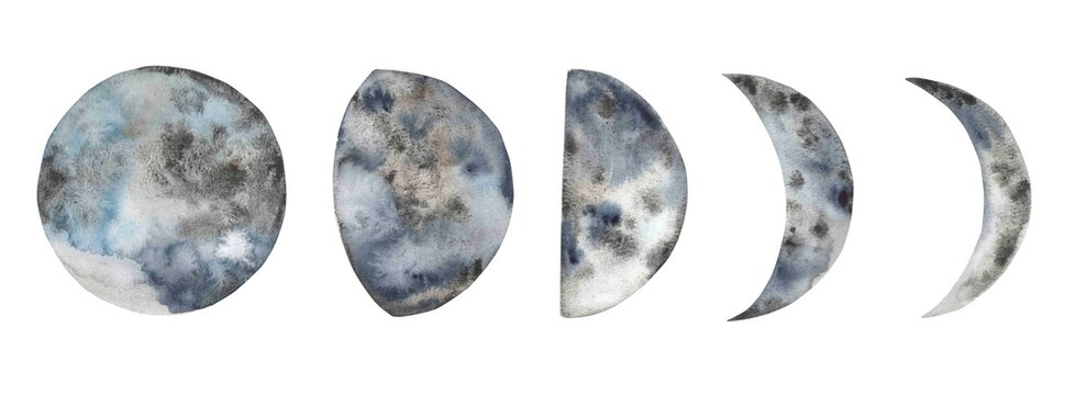 Hand painted watercolor moon phases. Full moon. Design for printing on textiles, packaging, cards, posters, etc.
