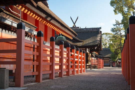 Sumiyoshi taisha Shrine in Osaka, Japan. It is the main shrine of all the Sumiyoshi shrines in Japan.