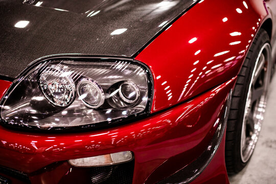 Russia, St.Petersburg - july 27, 2019: View of the side of the headlight Toyota Supra