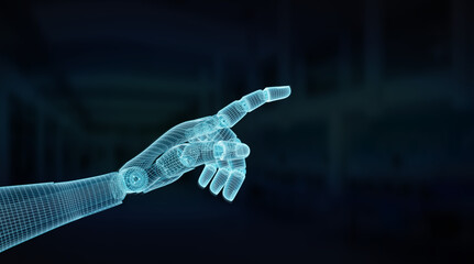 Wireframed blue robot hand pointing finger on dark 3D rendering
