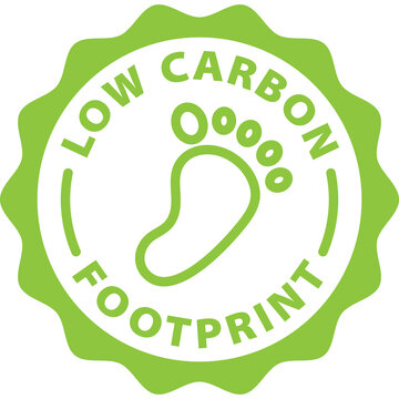 low carbon footprint green icon stamp rounded