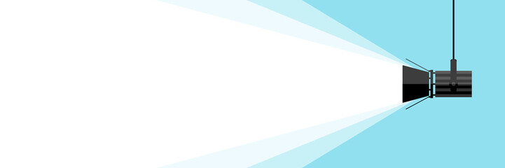 Banner spotlight . Vector flat spotlight on blue background. Vector illustration